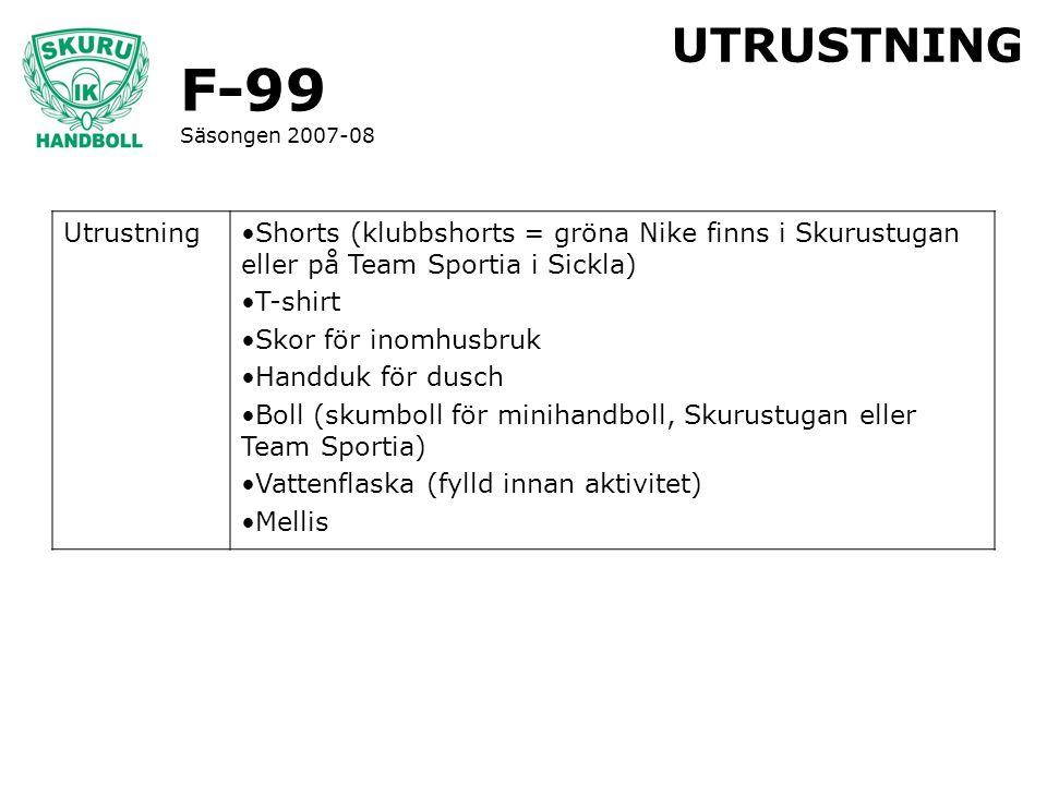 F-99 Säsongen 2007-08 UTRUSTNING UtrustningShorts (klubbshorts = gröna Nike finns i Skurustugan eller på Team Sportia i Sickla) T-shirt Skor för inomh