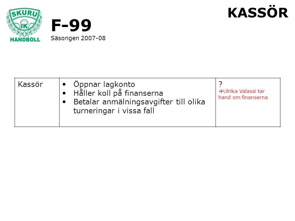 F-99 Säsongen 2007-08 KASSÖR Kassör Öppnar lagkonto Håller koll på finanserna Betalar anmälningsavgifter till olika turneringar i vissa fall ?  Ul