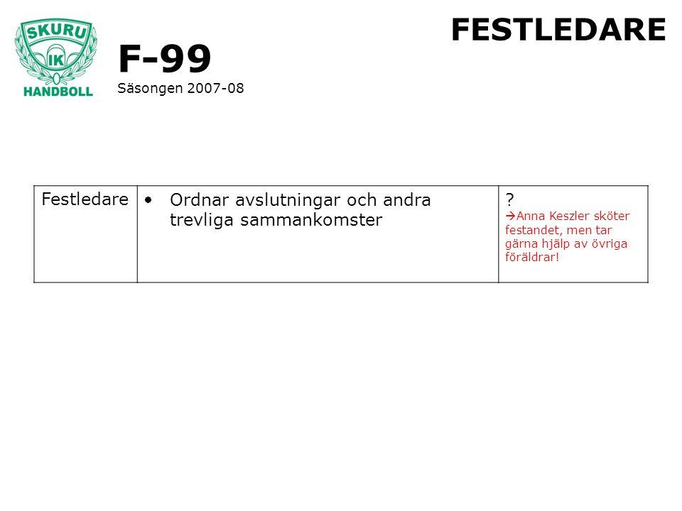 F-99 Säsongen 2007-08 FESTLEDARE Festledare Ordnar avslutningar och andra trevliga sammankomster ?  Anna Keszler sköter festandet, men tar gärna hjä