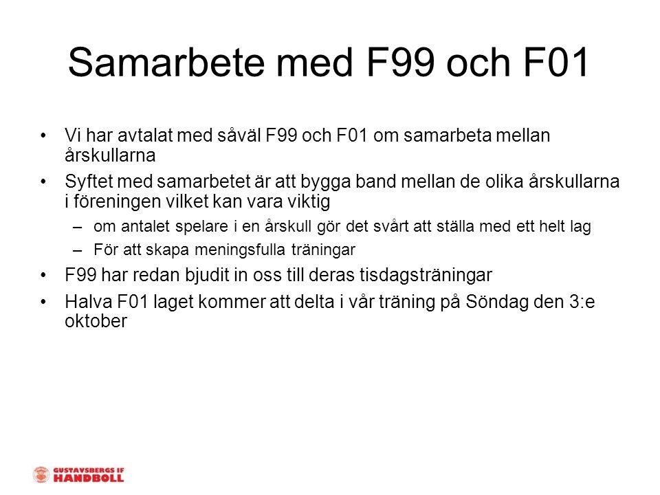 Samarbete med F99 och F01 Vi har avtalat med såväl F99 och F01 om samarbeta mellan årskullarna Syftet med samarbetet är att bygga band mellan de olika årskullarna i föreningen vilket kan vara viktig –om antalet spelare i en årskull gör det svårt att ställa med ett helt lag –För att skapa meningsfulla träningar F99 har redan bjudit in oss till deras tisdagsträningar Halva F01 laget kommer att delta i vår träning på Söndag den 3:e oktober