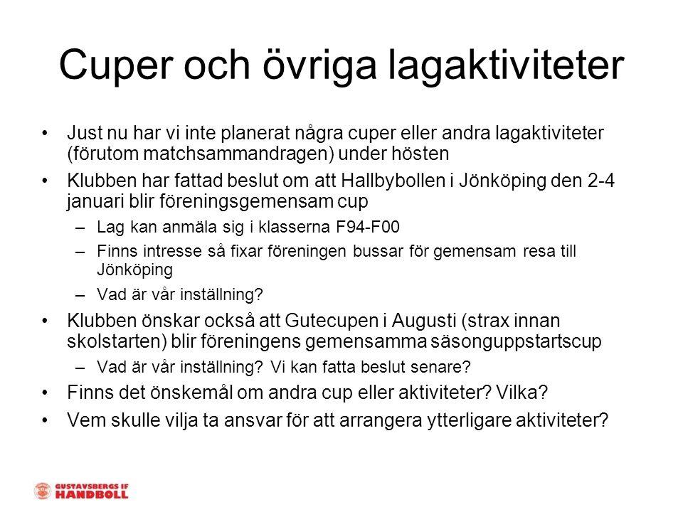 Cuper och övriga lagaktiviteter Just nu har vi inte planerat några cuper eller andra lagaktiviteter (förutom matchsammandragen) under hösten Klubben har fattad beslut om att Hallbybollen i Jönköping den 2-4 januari blir föreningsgemensam cup –Lag kan anmäla sig i klasserna F94-F00 –Finns intresse så fixar föreningen bussar för gemensam resa till Jönköping –Vad är vår inställning.