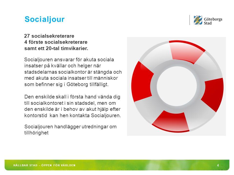 HÅLLBAR STAD – ÖPPEN FÖR VÄRLDEN 4 27 socialsekreterare 4 förste socialsekreterare samt ett 20-tal timvikarier.