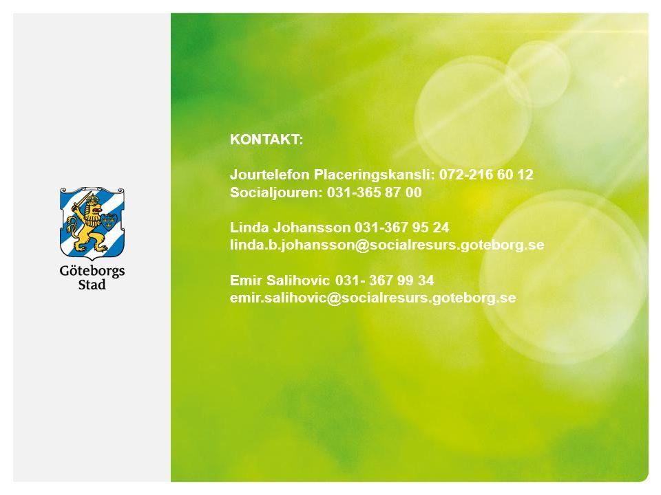 KONTAKT: Jourtelefon Placeringskansli: 072-216 60 12 Socialjouren: 031-365 87 00 Linda Johansson 031-367 95 24 linda.b.johansson@socialresurs.goteborg.se Emir Salihovic 031- 367 99 34 emir.salihovic@socialresurs.goteborg.se