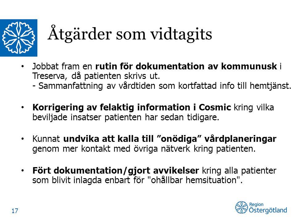 Jobbat fram en rutin för dokumentation av kommunusk i Treserva, då patienten skrivs ut. - Sammanfattning av vårdtiden som kortfattad info till hemtjän