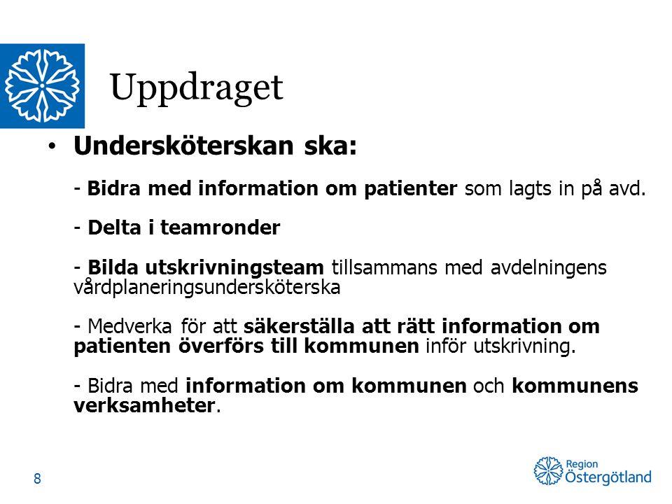 Undersköterskan ska: - Bidra med information om patienter som lagts in på avd.