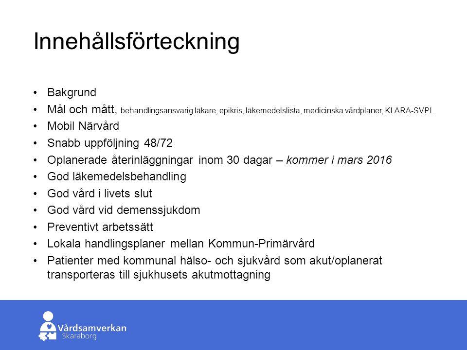 Skaraborgs Sjukhus Antal oplanerade transporter över tid År20112012 20142015 Totalt408639607690676 Varav antal inläggningar 278409420499 440 Antal kommuner11131415