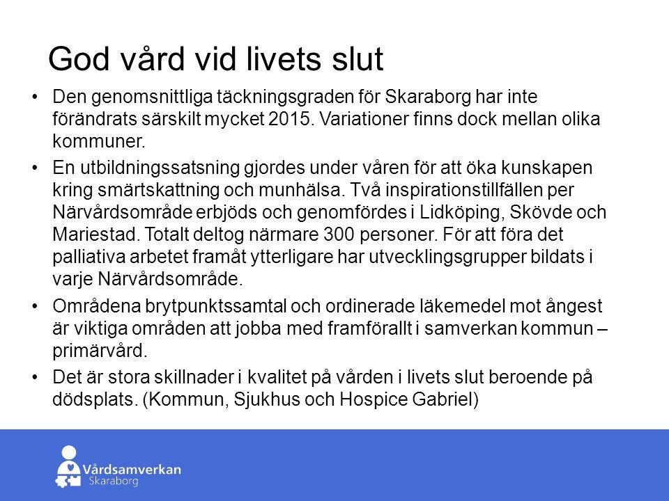 Skaraborgs Sjukhus God vård vid livets slut Den genomsnittliga täckningsgraden för Skaraborg har inte förändrats särskilt mycket 2015.