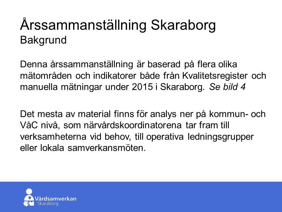 Skaraborgs Sjukhus Årssammanställning Skaraborg Bakgrund Denna årssammanställning är baserad på flera olika mätområden och indikatorer både från Kvalitetsregister och manuella mätningar under 2015 i Skaraborg.