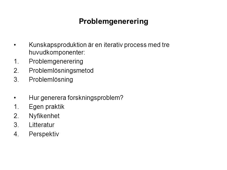 Problemgenerering (forts) Forskningsproblem ska vara intressanta, relevanta och avgränsade 1.Inte värderande och inte ja eller nej – ointressant (enligt MP) Exempel 1: Har den norska regeringens säkerhetspolitik efter det kalla kriget varit bra? I vilken utsträckning har den norska regeringens säkerhetspolitik efter det kalla krigets slut uppfyllt de uppsatta målen och vad kan förklara målavvikelse?