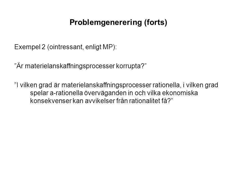 Problemgenerering (forts) 2.