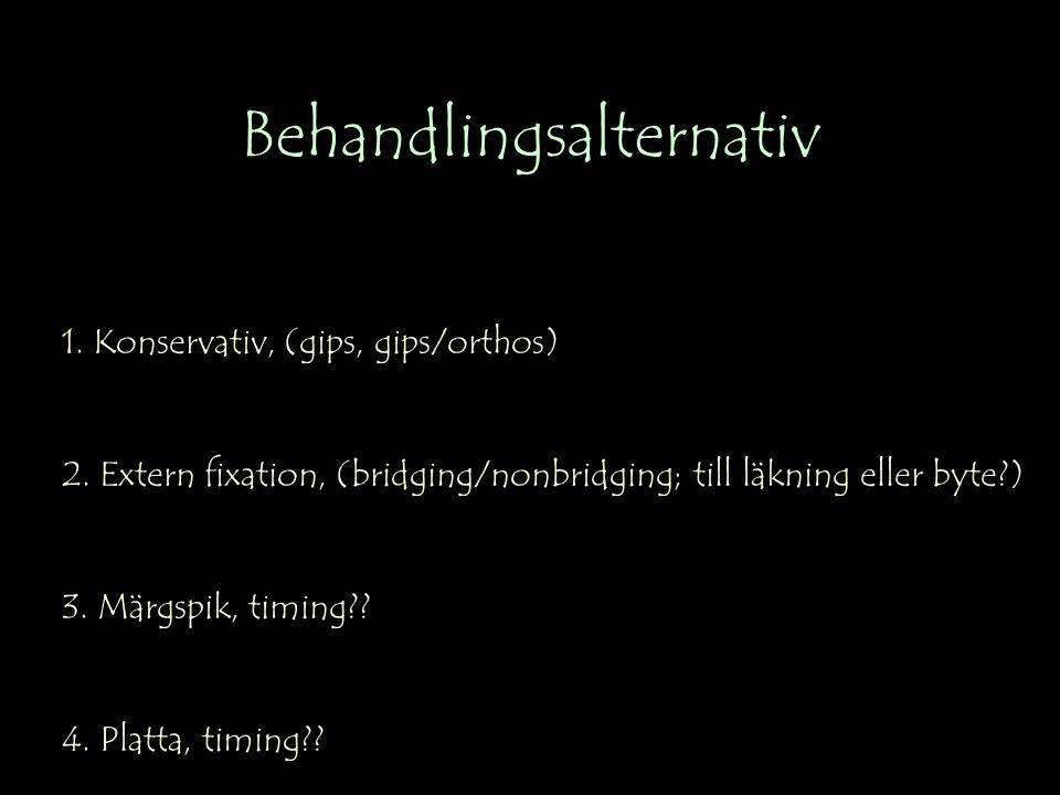 Behandlingsalternativ 1. Konservativ, (gips, gips/orthos) 2.