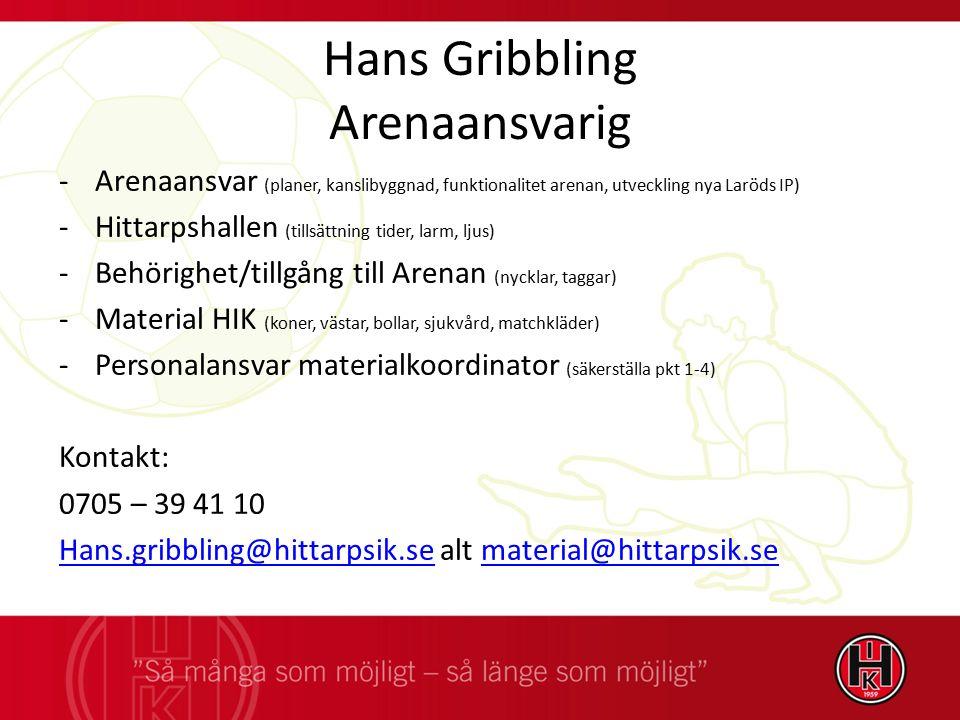 Hans Gribbling Arenaansvarig -Arenaansvar (planer, kanslibyggnad, funktionalitet arenan, utveckling nya Laröds IP) -Hittarpshallen (tillsättning tider