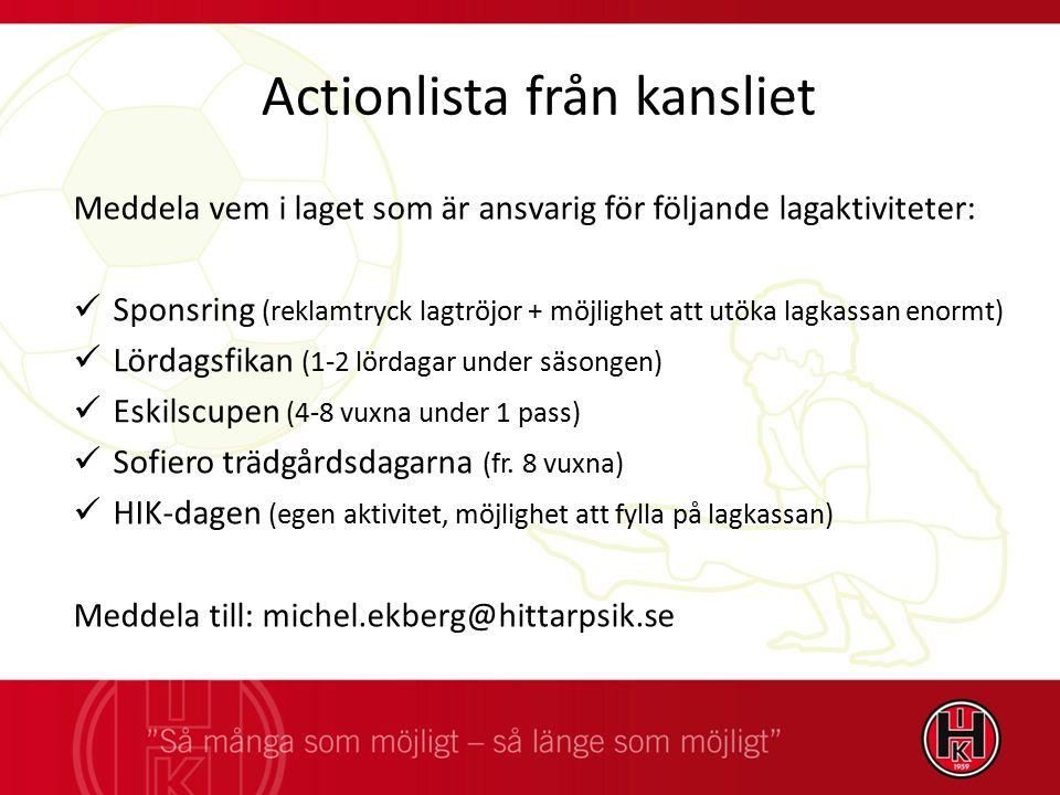 Actionlista från kansliet Meddela vem i laget som är ansvarig för följande lagaktiviteter: Sponsring (reklamtryck lagtröjor + möjlighet att utöka lagk