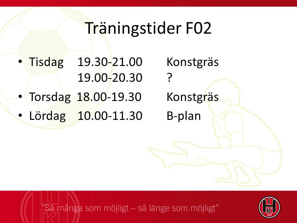 Träningstider F02 Tisdag 19.30-21.00 Konstgräs 19.00-20.30.