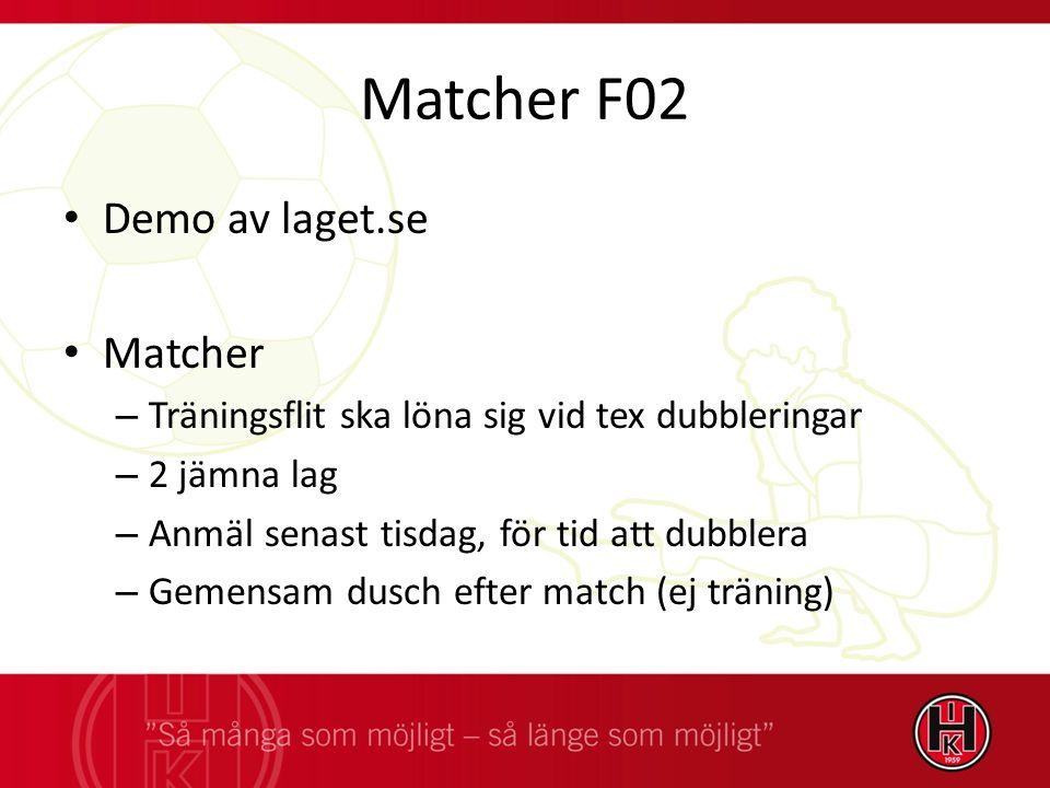 Matcher F02 Demo av laget.se Matcher – Träningsflit ska löna sig vid tex dubbleringar – 2 jämna lag – Anmäl senast tisdag, för tid att dubblera – Gemensam dusch efter match (ej träning)