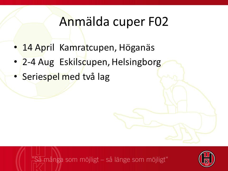Anmälda cuper F02 14 AprilKamratcupen, Höganäs 2-4 AugEskilscupen, Helsingborg Seriespel med två lag