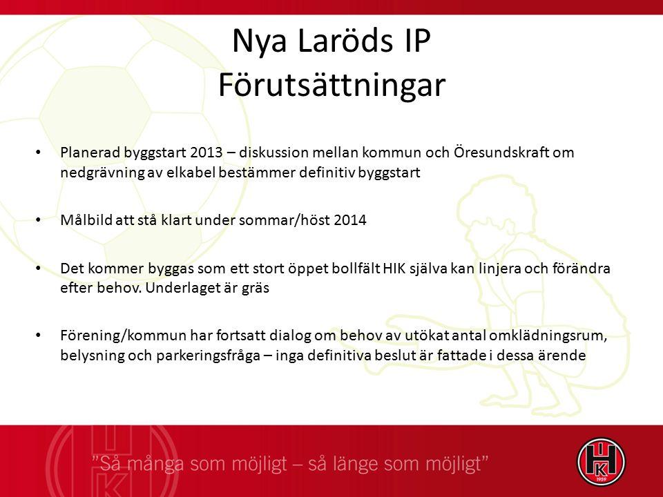 Nya Laröds IP Förutsättningar Planerad byggstart 2013 – diskussion mellan kommun och Öresundskraft om nedgrävning av elkabel bestämmer definitiv byggs
