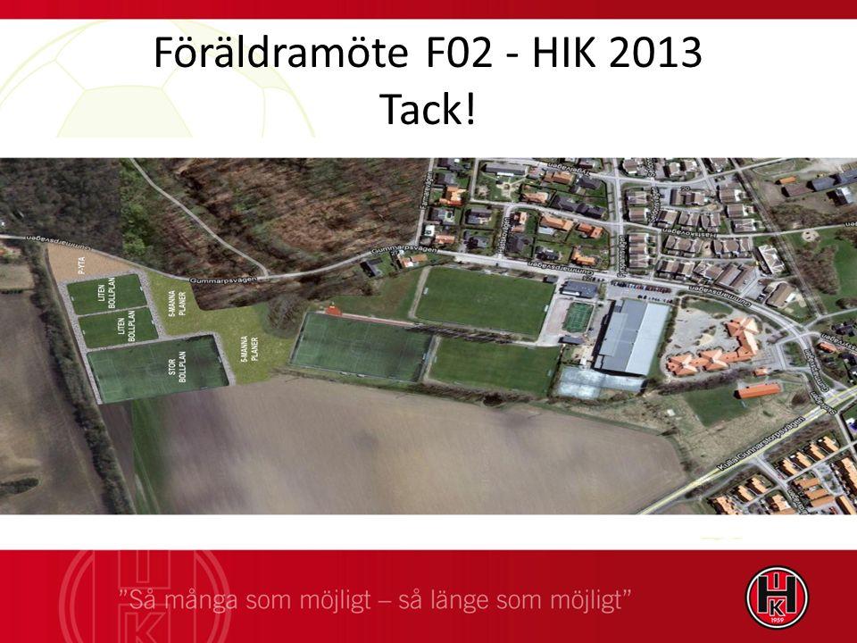 Föräldramöte F02 - HIK 2013 Tack!