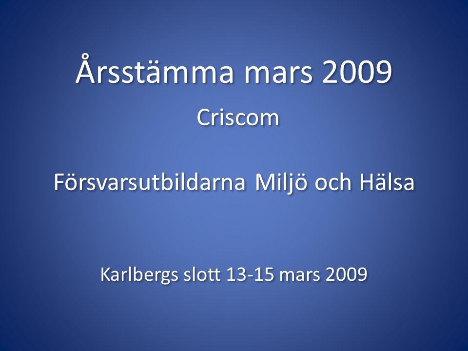 Årsstämma mars 2009 Criscom Försvarsutbildarna Miljö och Hälsa Karlbergs slott 13-15 mars 2009