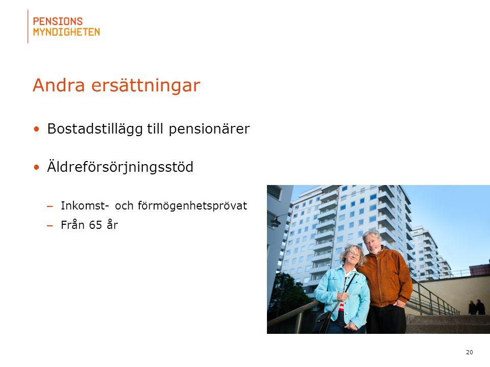 För att uppdatera sidfotstexten, gå till menyn: Visa/Sidhuvud och sidfot... 20 Andra ersättningar Bostadstillägg till pensionärer Äldreförsörjningsstö