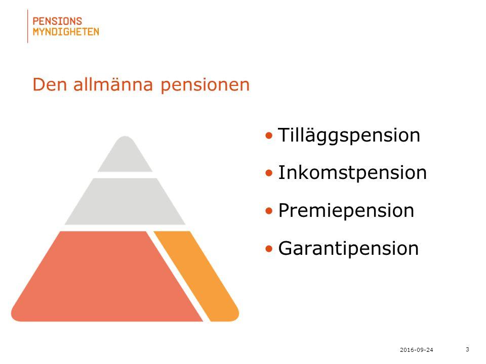 För att uppdatera sidfotstexten, gå till menyn: Visa/Sidhuvud och sidfot... 3 2016-09-24 Den allmänna pensionen Tilläggspension Inkomstpension Premiep