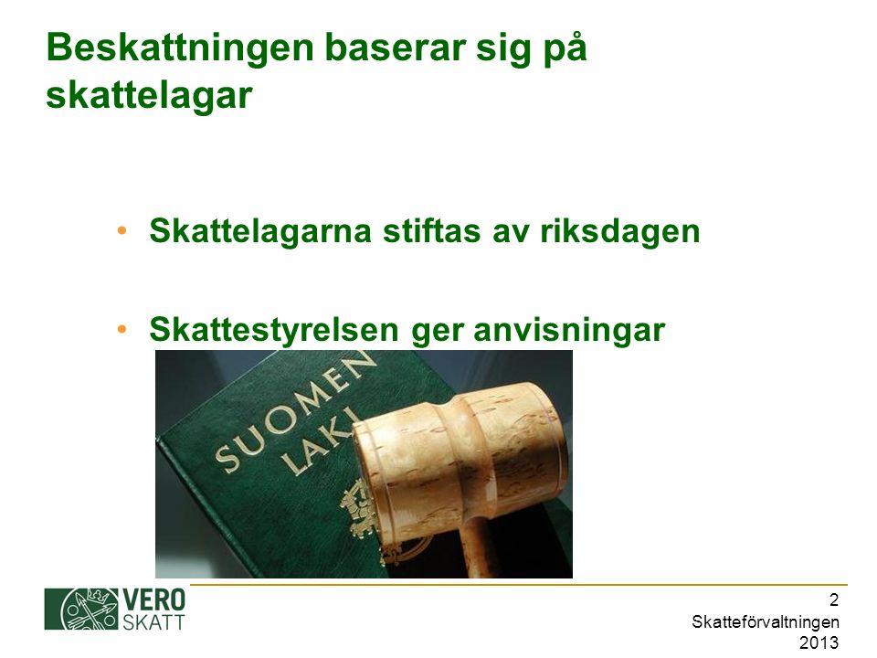 Skatteförvaltningen 2013 2 Beskattningen baserar sig på skattelagar Skattelagarna stiftas av riksdagen Skattestyrelsen ger anvisningar