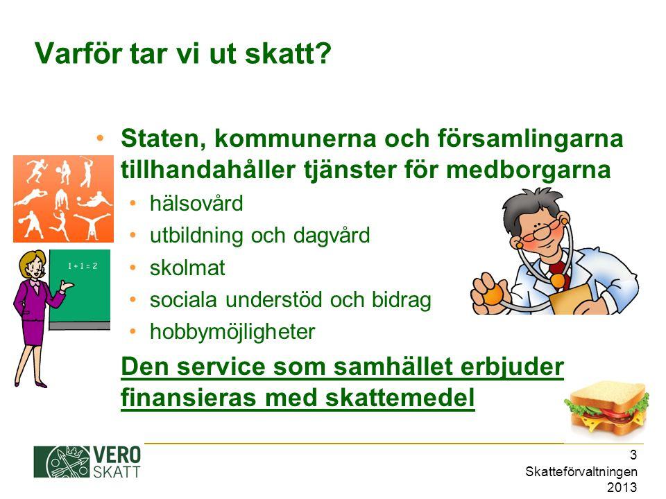 Skatteförvaltningen 2013 4 Även du betalar skatt.
