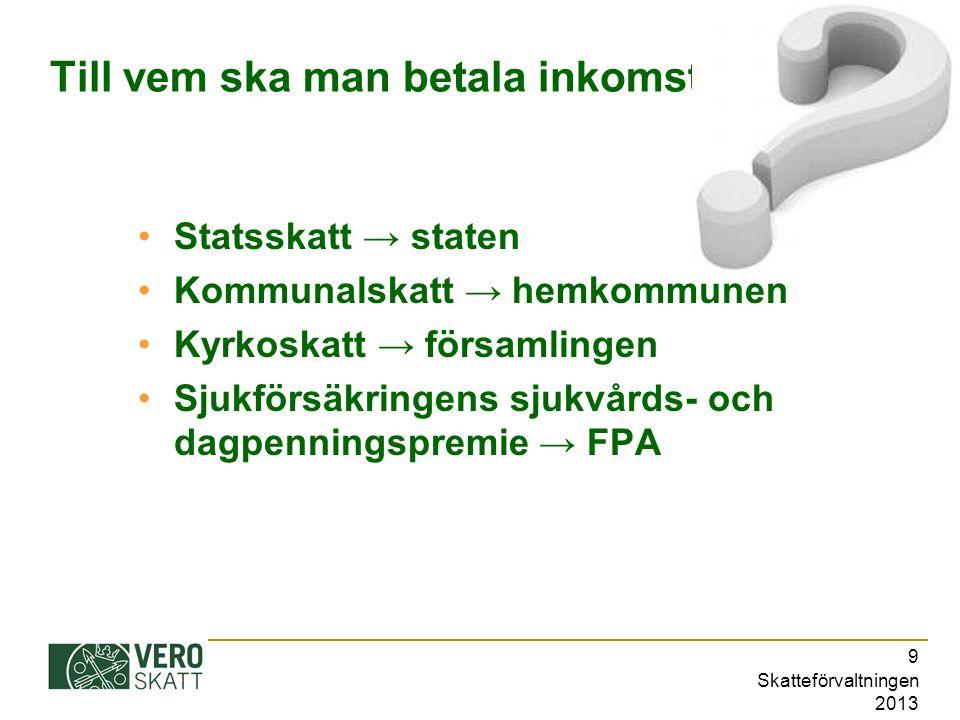 Skatteförvaltningen 2013 10 Progressiv - proportionell Inkomstskatten till staten är progressiv: Ju mindre är din inkomst, desto lägre är din skatteprocent.