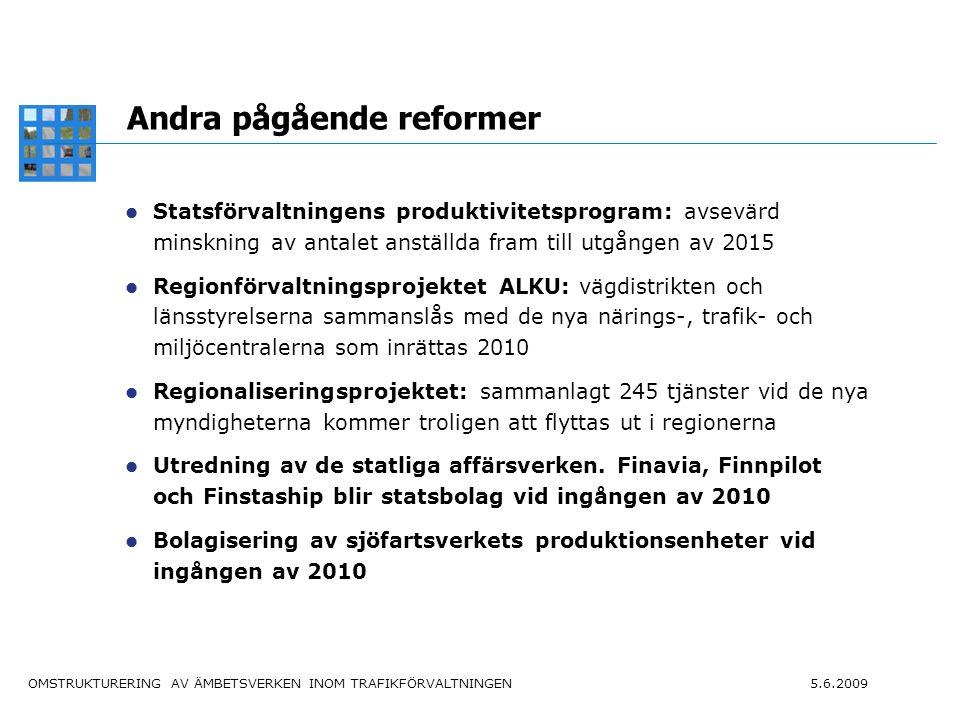 OMSTRUKTURERING AV ÄMBETSVERKEN INOM TRAFIKFÖRVALTNINGEN 5.6.2009 8 De nya ämbetsverkens verksamhetsidéer Trafikledsverket svarar i samarbete med intressentgrupperna för att Finland har ett fungerande, energieffektivt, miljövänligt och säkert trafiksystem som motsvarar medborgarnas och näringslivets trafik- och transportbehov och säkerställer att landet och dess olika delar har en stark konkurrenskraft.