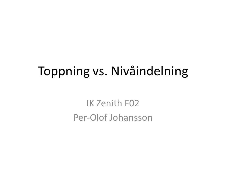 Toppning vs. Nivåindelning IK Zenith F02 Per-Olof Johansson