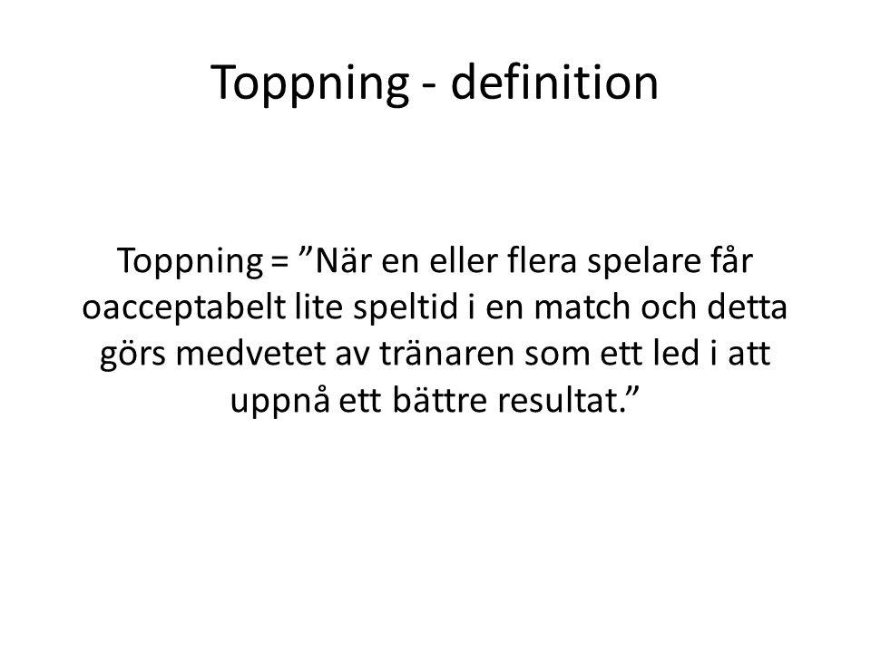Toppning - definition Toppning = När en eller flera spelare får oacceptabelt lite speltid i en match och detta görs medvetet av tränaren som ett led i att uppnå ett bättre resultat.
