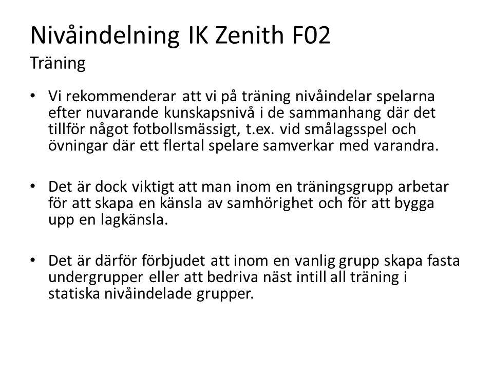 Nivåindelning IK Zenith F02 Träning Vi rekommenderar att vi på träning nivåindelar spelarna efter nuvarande kunskapsnivå i de sammanhang där det tillf
