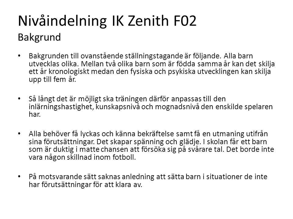 Nivåindelning IK Zenith F02 Bakgrund Bakgrunden till ovanstående ställningstagande är följande. Alla barn utvecklas olika. Mellan två olika barn som ä