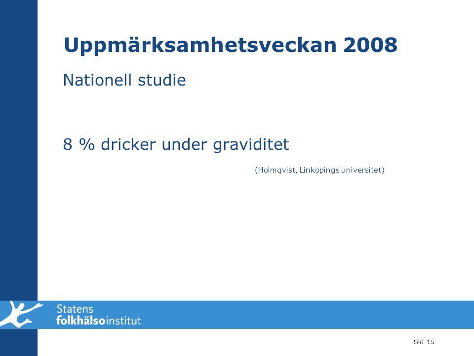 Nationell studie 8 % dricker under graviditet (Holmqvist, Linköpings universitet) Sid 15 Uppmärksamhetsveckan 2008