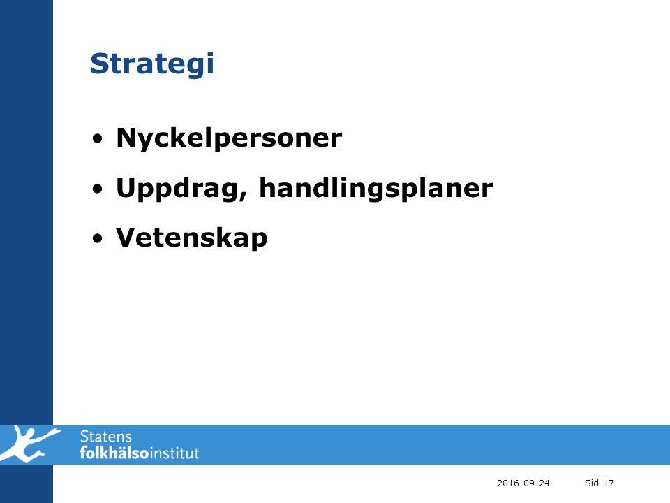 2016-09-24Sid 17 Strategi Nyckelpersoner Uppdrag, handlingsplaner Vetenskap