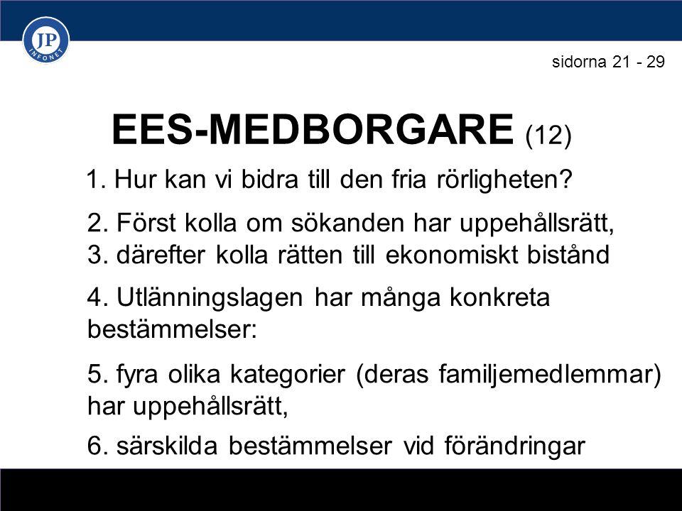 EES-MEDBORGARE (12) 1. Hur kan vi bidra till den fria rörligheten.