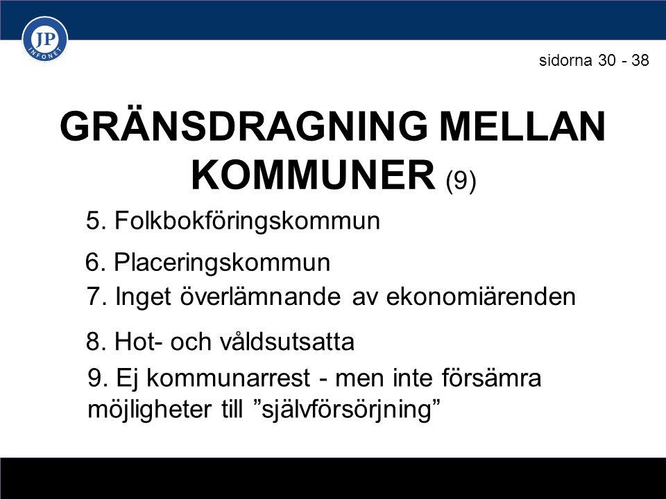 GRÄNSDRAGNING MELLAN KOMMUNER (9) 5. Folkbokföringskommun 6.
