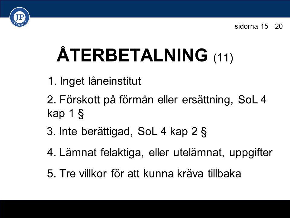ÅTERBETALNING (11) 1. Inget låneinstitut 3. Inte berättigad, SoL 4 kap 2 § 2.