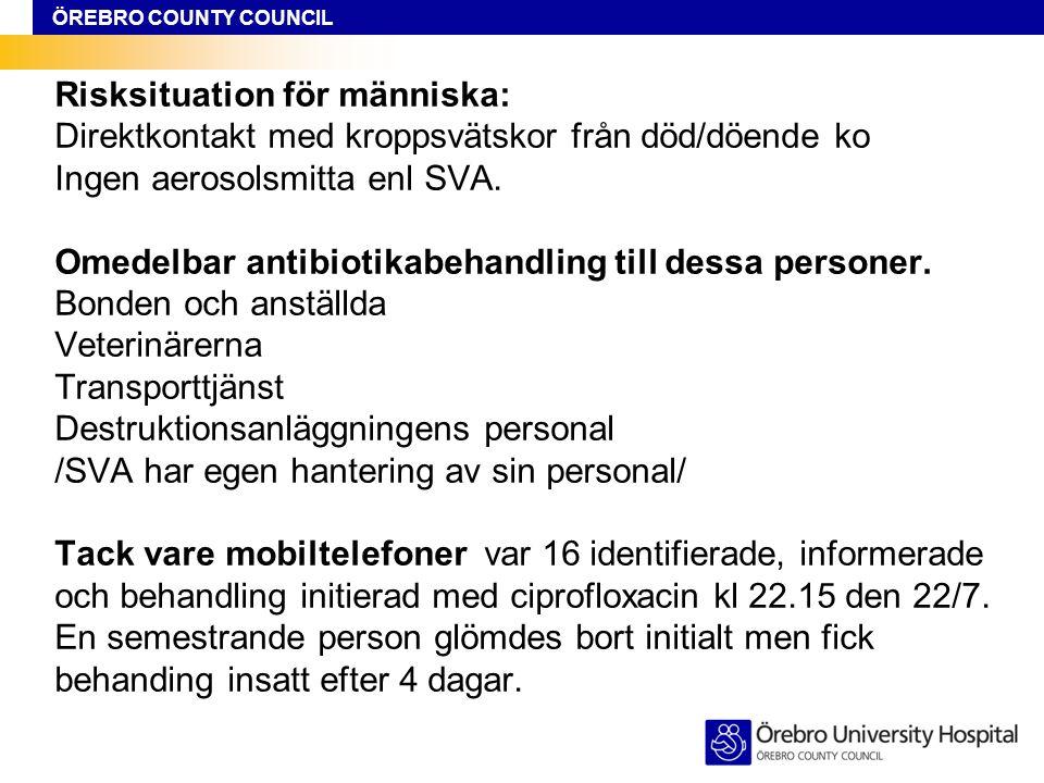 ÖREBRO COUNTY COUNCIL Risksituation för människa: Direktkontakt med kroppsvätskor från död/döende ko Ingen aerosolsmitta enl SVA. Omedelbar antibiotik
