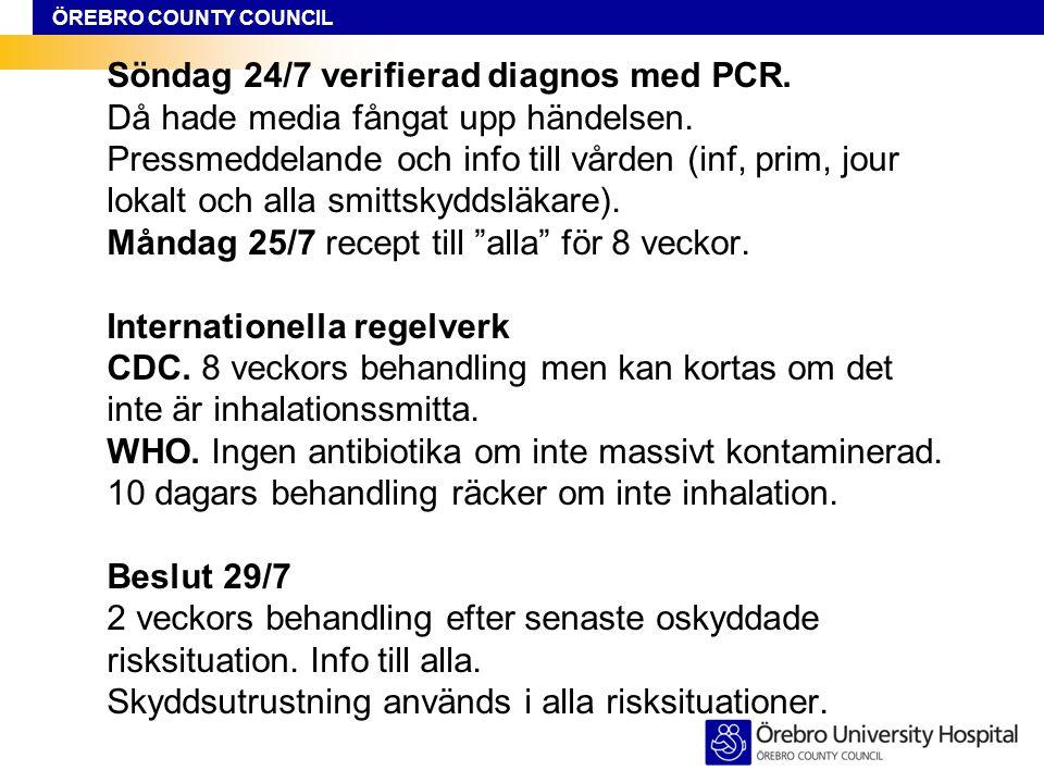 ÖREBRO COUNTY COUNCIL Söndag 24/7 verifierad diagnos med PCR. Då hade media fångat upp händelsen. Pressmeddelande och info till vården (inf, prim, jou
