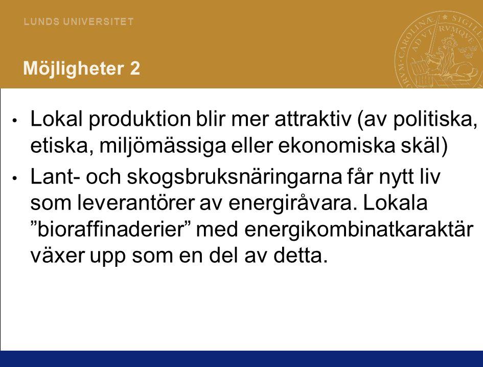 3 L U N D S U N I V E R S I T E T Möjligheter 2 Lokal produktion blir mer attraktiv (av politiska, etiska, miljömässiga eller ekonomiska skäl) Lant- och skogsbruksnäringarna får nytt liv som leverantörer av energiråvara.