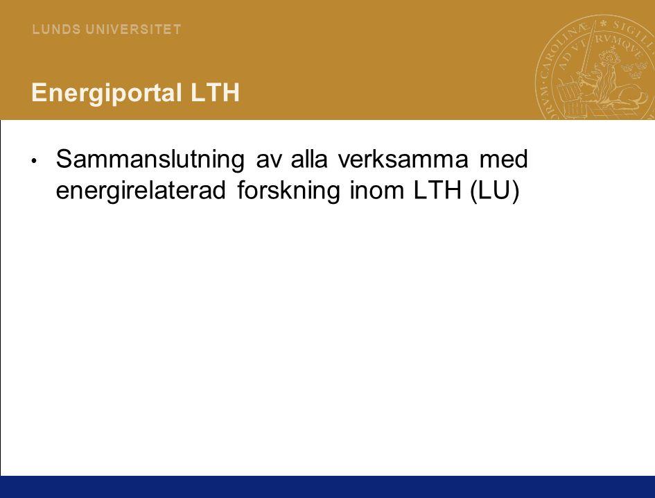 5 L U N D S U N I V E R S I T E T Energiportal LTH Sammanslutning av alla verksamma med energirelaterad forskning inom LTH (LU)