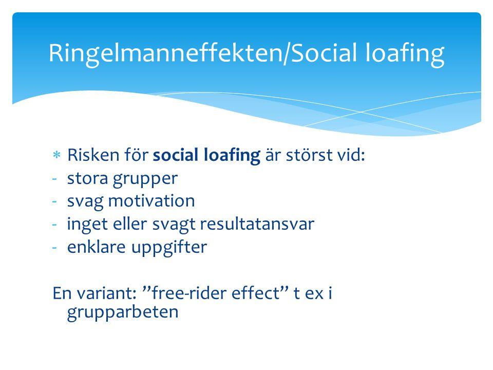  Risken för social loafing är störst vid: -stora grupper -svag motivation -inget eller svagt resultatansvar -enklare uppgifter En variant: free-rider effect t ex i grupparbeten Ringelmanneffekten/Social loafing