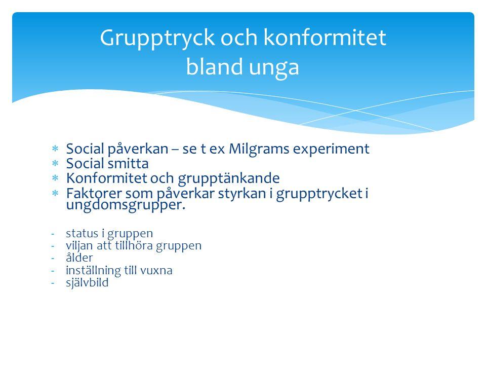 Social påverkan – se t ex Milgrams experiment  Social smitta  Konformitet och grupptänkande  Faktorer som påverkar styrkan i grupptrycket i ungdomsgrupper.