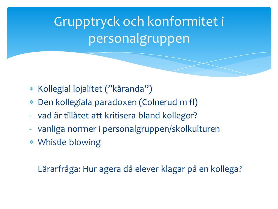  Kollegial lojalitet ( kåranda )  Den kollegiala paradoxen (Colnerud m fl) -vad är tillåtet att kritisera bland kollegor.