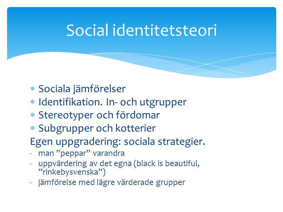 Sociala jämförelser  Identifikation.