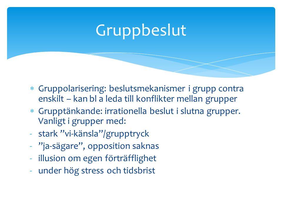  Gruppolarisering: beslutsmekanismer i grupp contra enskilt – kan bl a leda till konflikter mellan grupper  Grupptänkande: irrationella beslut i slutna grupper.