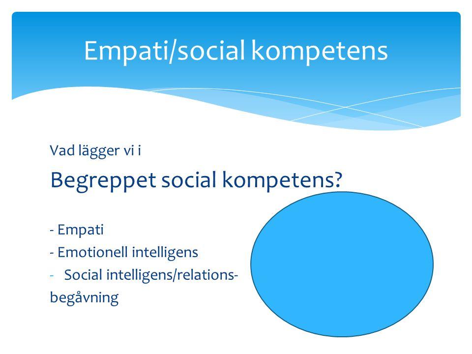 Vad lägger vi i Begreppet social kompetens.