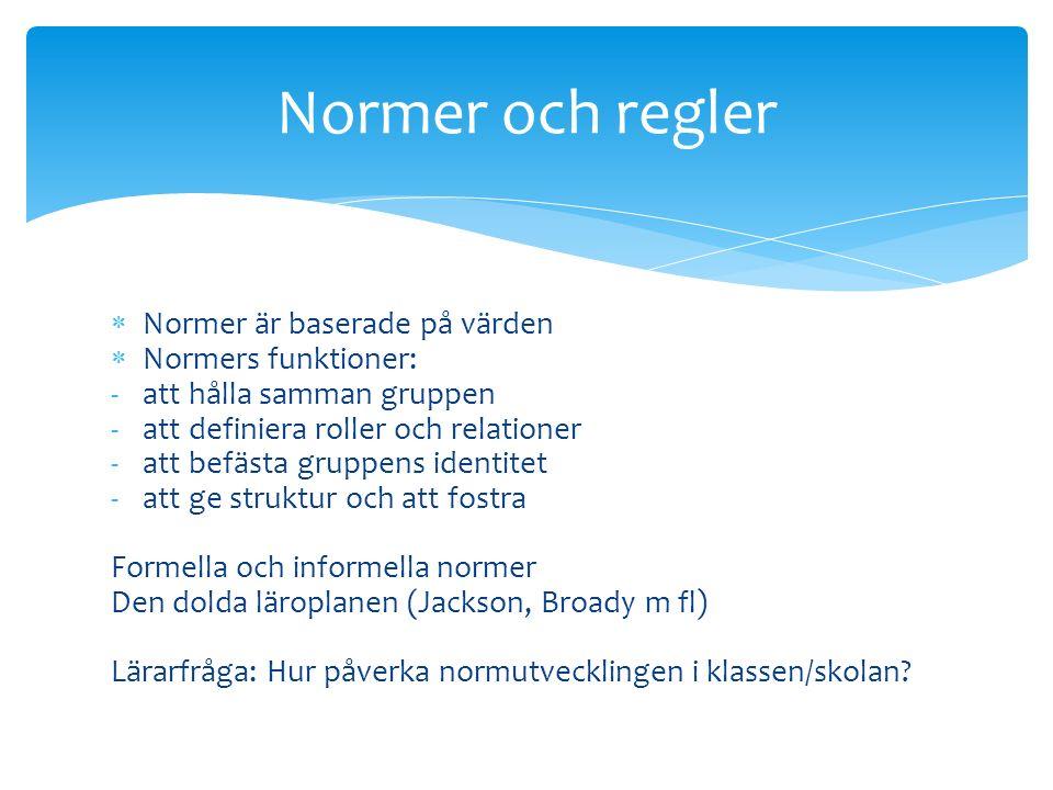  Normer är baserade på värden  Normers funktioner: -att hålla samman gruppen -att definiera roller och relationer -att befästa gruppens identitet -att ge struktur och att fostra Formella och informella normer Den dolda läroplanen (Jackson, Broady m fl) Lärarfråga: Hur påverka normutvecklingen i klassen/skolan.