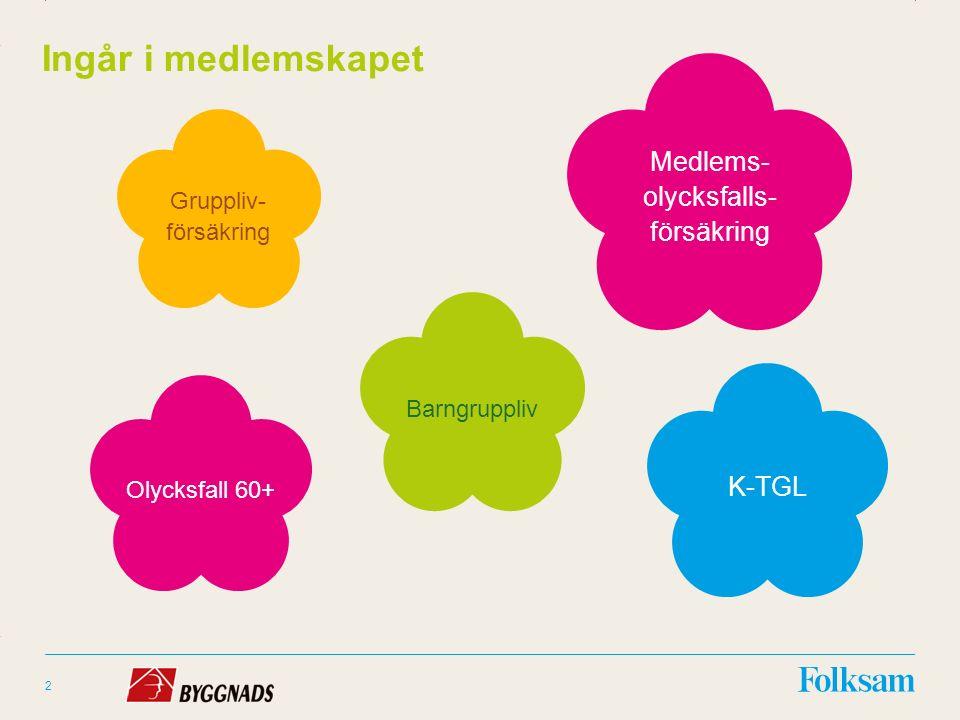 Innehållsyta Rubrikyta 2 Ingår i medlemskapet K-TGL Medlems- olycksfalls- försäkring Gruppliv- försäkring Barngruppliv Olycksfall 60+